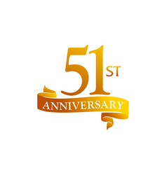51 year ribbon anniversary vector