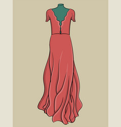 a long evening dress is pink with light fabric on vector image