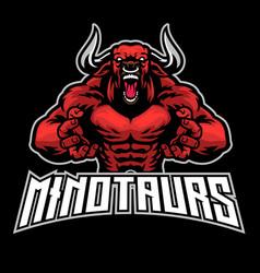 angry bull minotaur esport mascot vector image