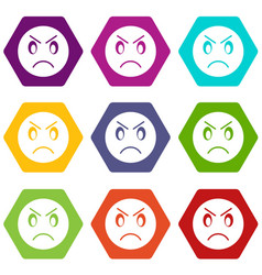 annoyed emoticon set color hexahedron vector image