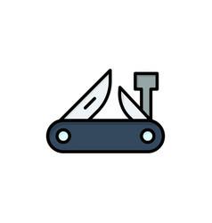 Army knife multi tool pocket knife swiss flat vector