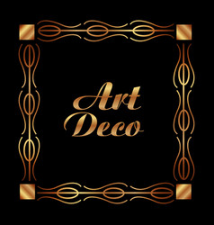 art deco frame elegant decorative square style vector image