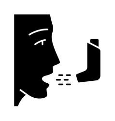 Asthma inhaler glyph icon vector