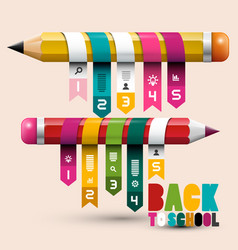 back to school concept with pencils colorful vector image