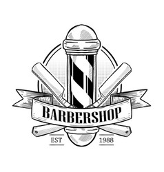 barbershop logo with pole vector image