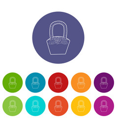 Basket icons set color vector