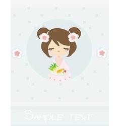 Beautiful Asian little girl enjoy sushi - menu vector