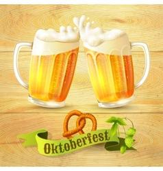 Beer mugs octoberfest poster vector