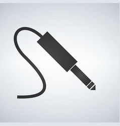 Black audio jack cable icon isolated on modern vector