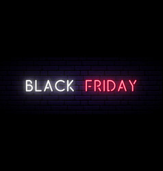 black friday sale neon sign long horizontal light vector image