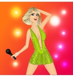 blonde woman with microphone vector image