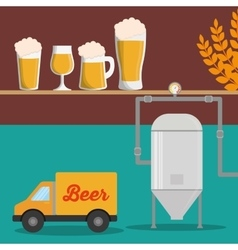 brewery beer glasses wheat truck vector image