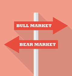 Bull and bear market street sign vector