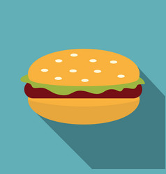 Burger with lettuce meat patty and bun icon vector