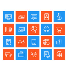 business commerce line icons set vector image