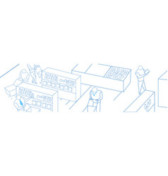 businessman shopping cart supermarket interior vector image