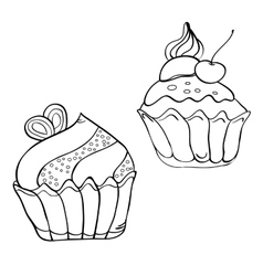 Cake contour black and white vector image