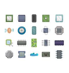 Chip icon set cartoon style vector