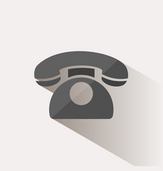 classic phone icon with shadow on a beige vector image