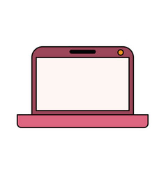 Color sketch silhouette modern laptop tech vector