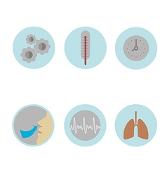 Colored medical Icons on the theme of respiration vector