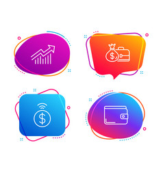 Contactless payment demand curve and salary icons vector