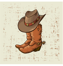 Cowboy boots and hat graphic vector