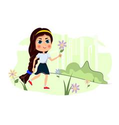 Cute cartoon girl walks on lawn vector
