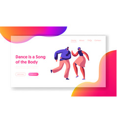 cute couple dance together landing page vector image