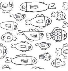 cute handdrawn fish doodles seamless pattern vector image