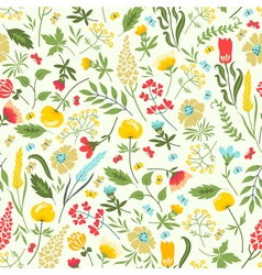 Cute seamless floral pattern with flowers and herb vector image