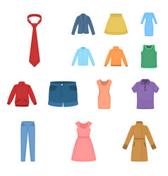 Different kinds of clothes cartoon icons in set vector