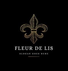 elegant lineart fleur de lis logo icon vector image