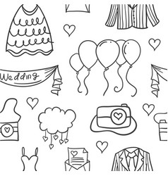 element wedding various in doodles style vector image