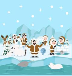 Eskimo family winter north pole arctic concept vector