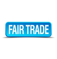 fair trade blue 3d realistic square isolated vector image