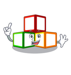 Finger toy blocks on cube boxes mascot vector