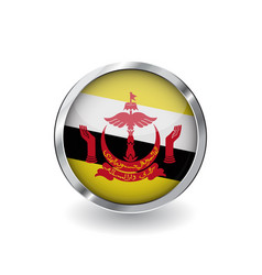 flag of brunei button with metal frame and shadow vector image