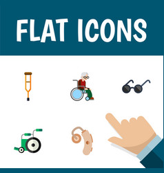 Flat icon disabled set of wheelchair audiology vector
