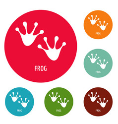 Frog step icons circle set vector