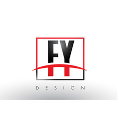 fy f y logo letters with red and black colors and vector image