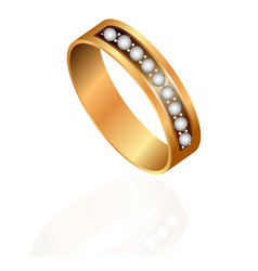 gold wedding rings pair 3d realistic icons set vector image
