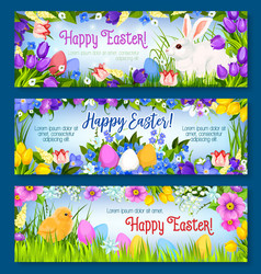 happy easter paschal eggs bunny banners set vector image