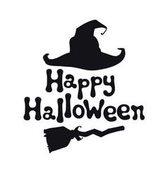 happy halloween theme handdrawn lettering phrase vector image