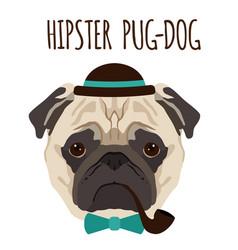 hipster pug dog cartoon pug dog background vector image