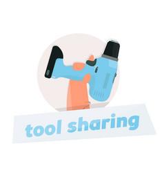 instrument rental logo drill in hand vector image