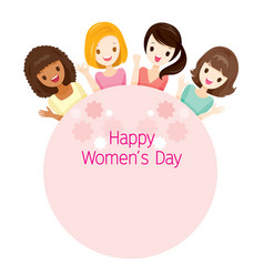 International womens day women on circle frame vector