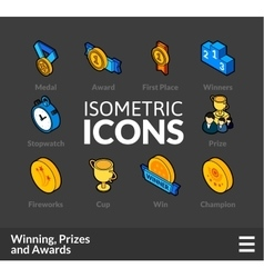 Isometric outline icons set 57 vector image