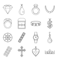 Jewelry items icons set outline style vector