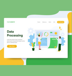 landing page template data processing concept vector image